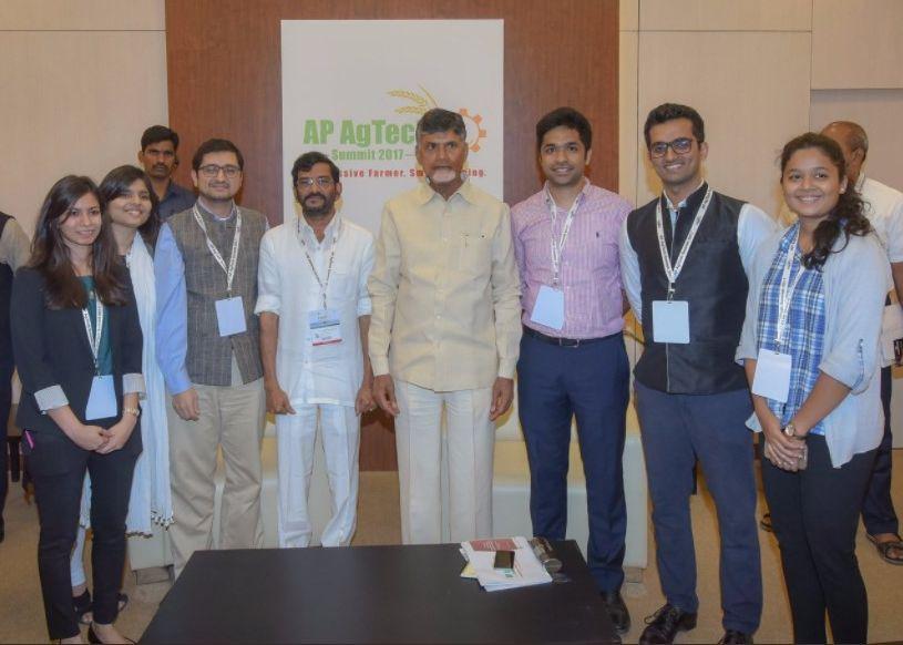 N Chandrababu Naidu with Dalberg team
